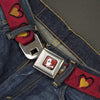 Alice in Wonderland Queen Face Full Color Red Seatbelt Belt - Alice in Wonderland Queen's Hearts Reds/Black/Gold Webbing