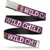 Chrome Buckle Web Belt - Pebbles Face/Pose WILD CHILD Pink/Black/White Webbing