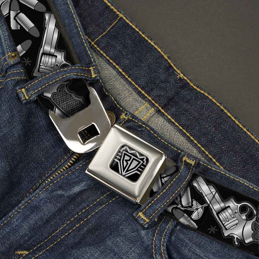 BD Wings Logo CLOSE-UP Full Color Black Silver Seatbelt Belt - Born to Raise Hell Black/White Webbing