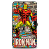 MARVEL COMICS Hinged Wallet - INVINCIBLE IRON MAN Standing Pose Stacked Retro Comics