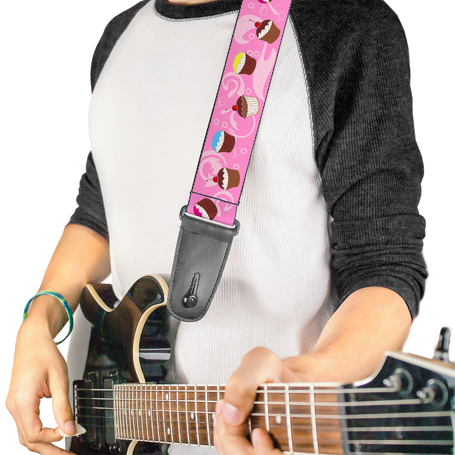 Guitar Strap - Cupcake Swirls Pink Multi Color
