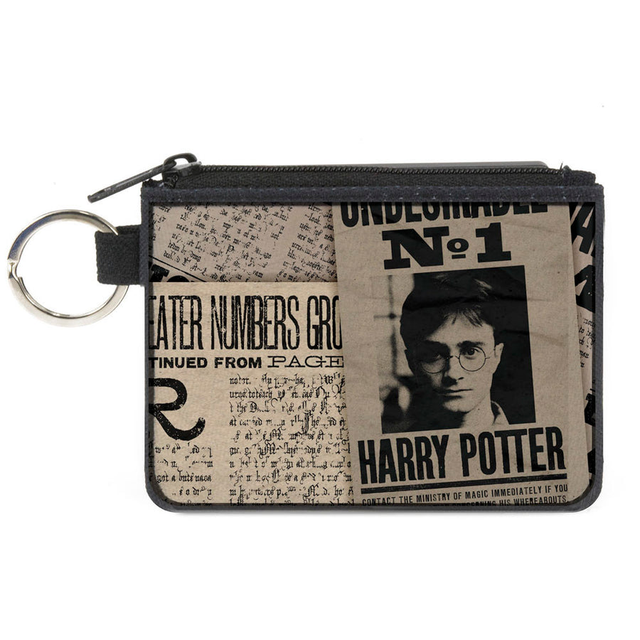 Canvas Zipper Wallet - MINI X-SMALL - Harry Potter Newspaper Headlines UNDESIRABLE NO 1
