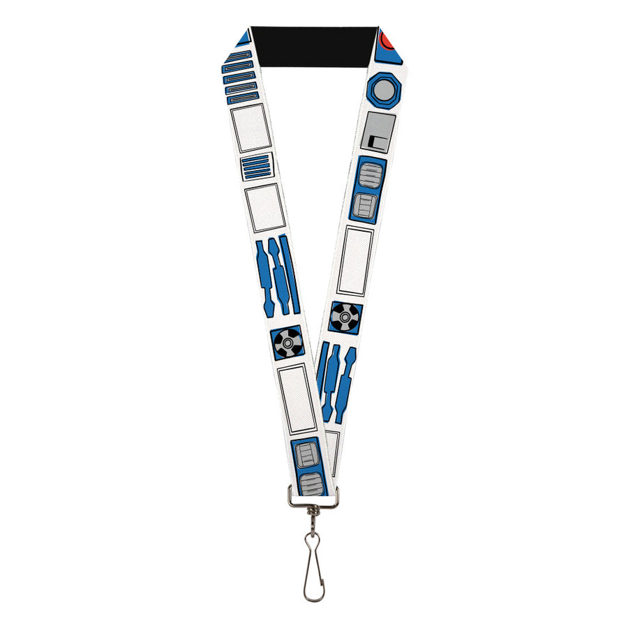 "Lanyard - 1.0"" - Star Wars R2-D2 Bounding Parts White Black Blue Gray Red"