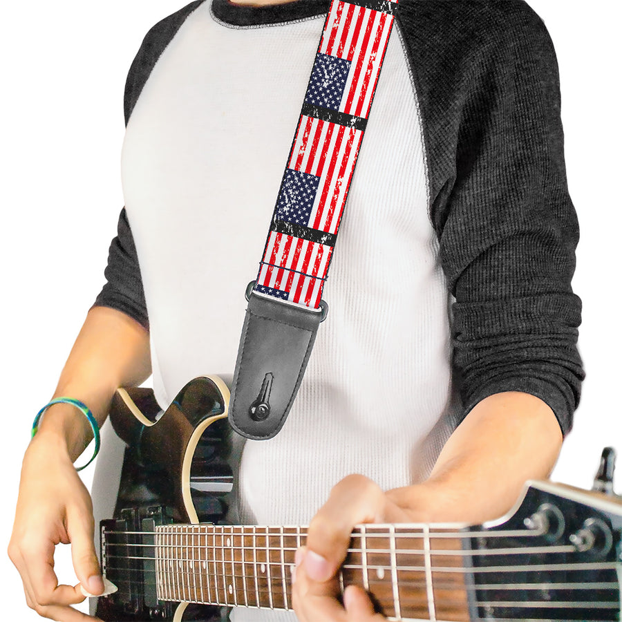 Guitar Strap - United States Flags Weathered Black