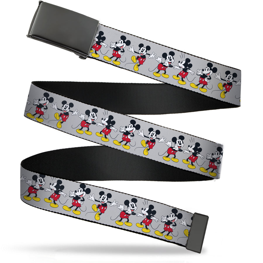 Black Buckle Web Belt - Mickey Mouse 4-Poses Gray Webbing