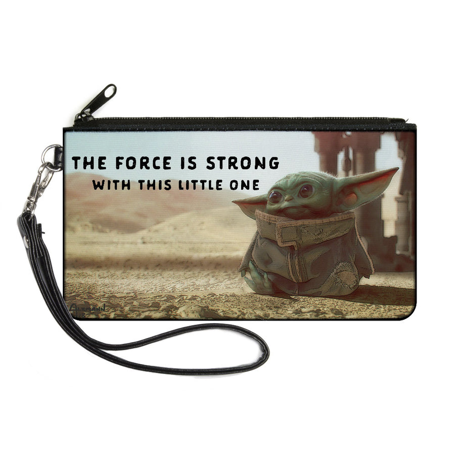 Canvas Zipper Wallet - LARGE - Star Wars The Child Full Body Pose THE FORCE IS STRONG WITH THIS LITTLE ONE Vivid