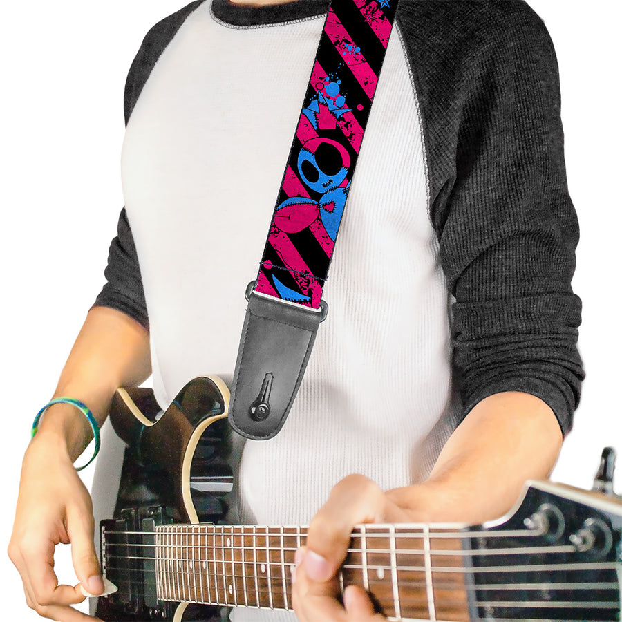 Guitar Strap - Voodoo Black Pink Blue