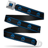 MOPAR Logo Full Color Black Blue White Seatbelt Belt - MOPAR Logo/Stripe/Grill Black/Grays/Blues Webbing
