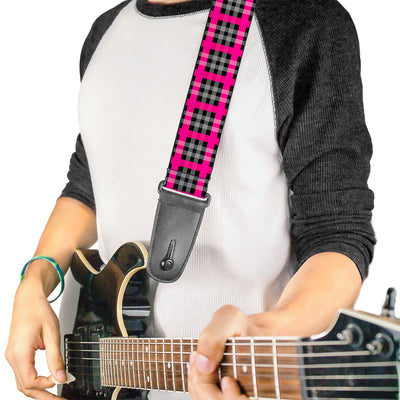 Guitar Strap - Plaid Black Gray Fuchsia
