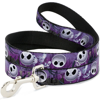 Dog Leash - Jack Expressions/Ghosts in Cemetery Purples/Grays/White