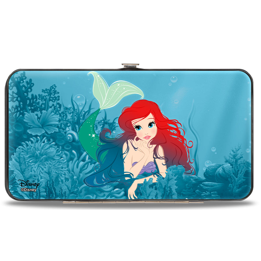 Hinged Wallet - Ariel Swimming + Resting Poses Coral Reef Blues