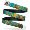 Scooby Doo Face Full Color Black Seatbelt Belt - Scooby Doo & Snacks/Bone Monogram Blues Webbing