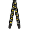 Guitar Strap - C6 Racing w Skull Repeat Black Yellow Silver