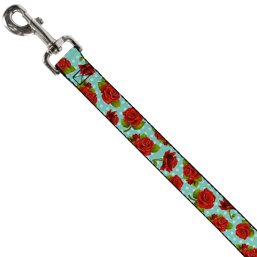 Dog Leash - Red Roses/Polka Dots Turquoise