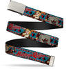 Chrome Buckle Web Belt - Harley Quinn Bombshell Pin-Up Pose/Joker Card/Suits Blue/White/Red/Black Webbing
