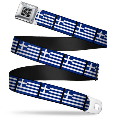 BD Wings Logo CLOSE-UP Full Color Black Silver Seatbelt Belt - Greece Flags Webbing