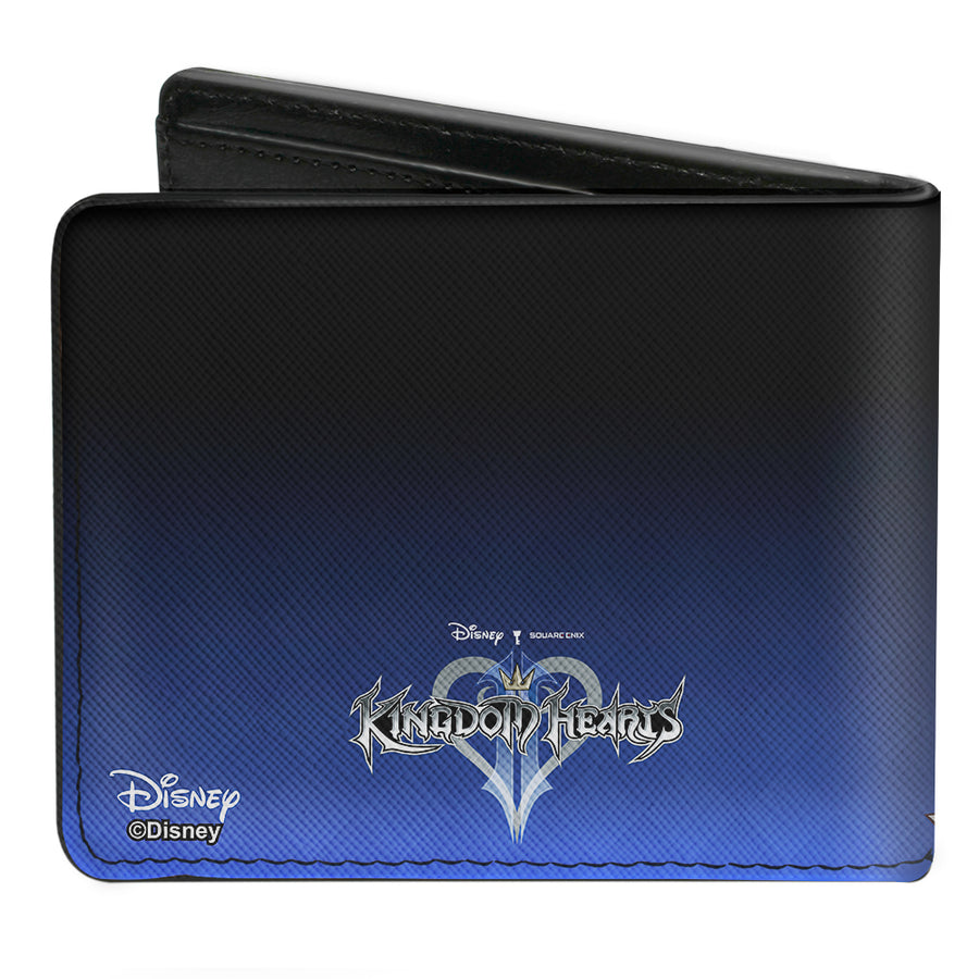 Bi-Fold Wallet - Kingdom Hearts II Donald Wisdom Form Sora Goofy Group Pose Diamonds Blue Fade