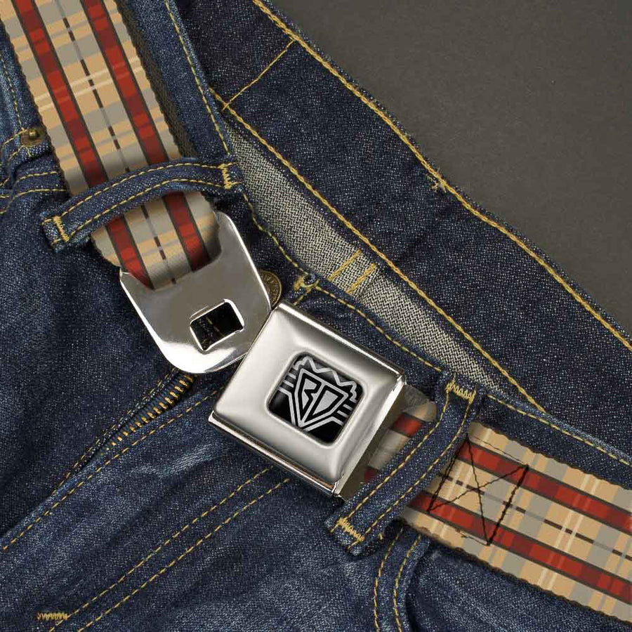 BD Wings Logo CLOSE-UP Full Color Black Silver Seatbelt Belt - Americana Plaid Webbing