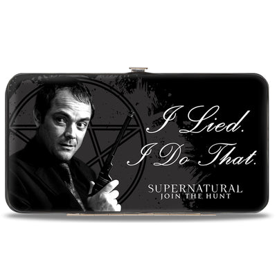 Hinged Wallet - Crowley I LIED- I DO THAT Pentagram Black Grays White