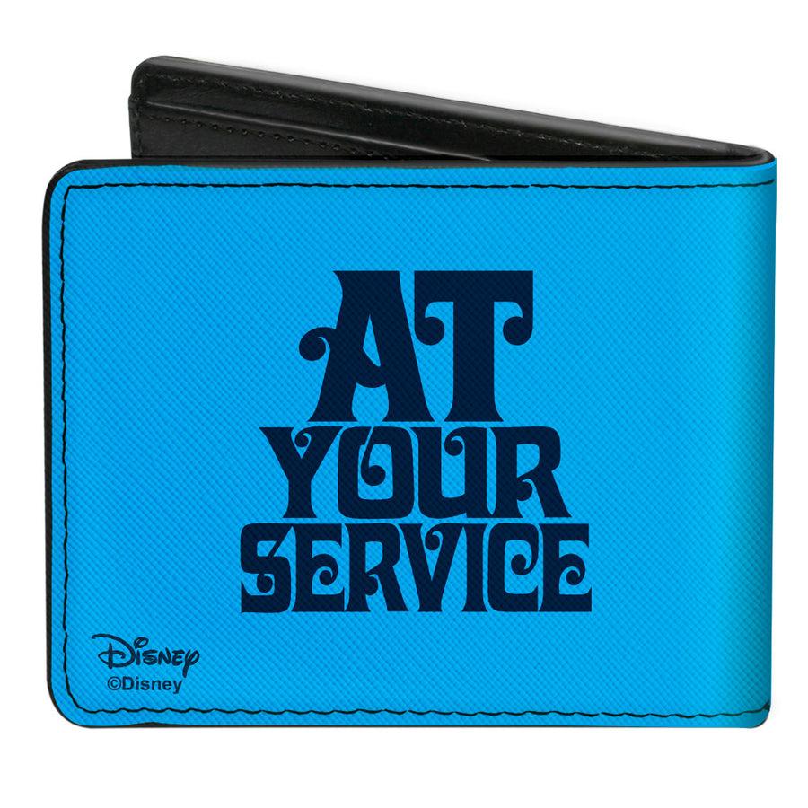 Bi-Fold Wallet - Aladdin 2019 Genie Face + AT YOUR SERVICE Blues Yellow