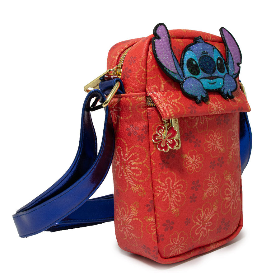 <b>Pre-Order Only </b><br>Women's Crossbody Wallet - Lilo & Stitch Stich Patch with Hibiscus Flowers