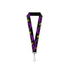 "Lanyard - 1.0"" - Maleficent Dragon Diablo Silhouettes Splatter Black Greens Purples"