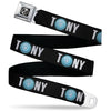 "Avengers ""A"" Target Logo Full Color Black/Silver-Fade/Black Seatbelt Belt - Iron Man Arc Reactor TONY Text Black/White/Blue Glow Webbing"