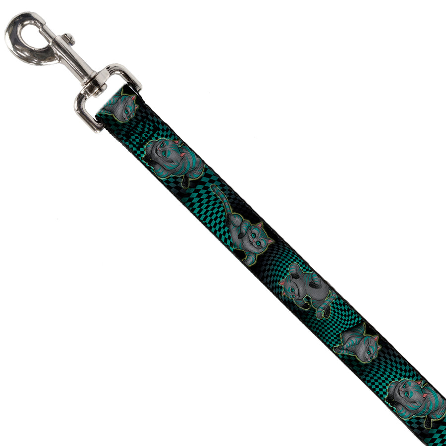 Dog Leash - Cheshire Cat 4-Poses Checkers Teal/Black