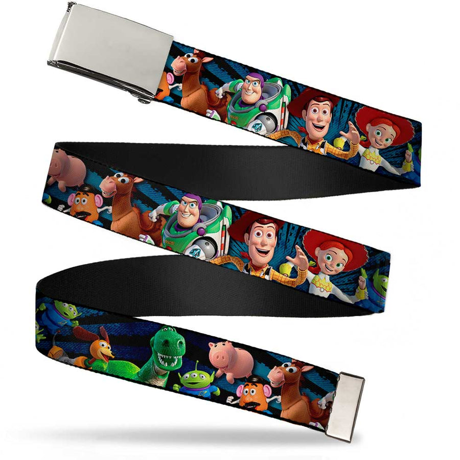 Chrome Buckle Web Belt - Toy Story Characters Running Denim Rays Webbing