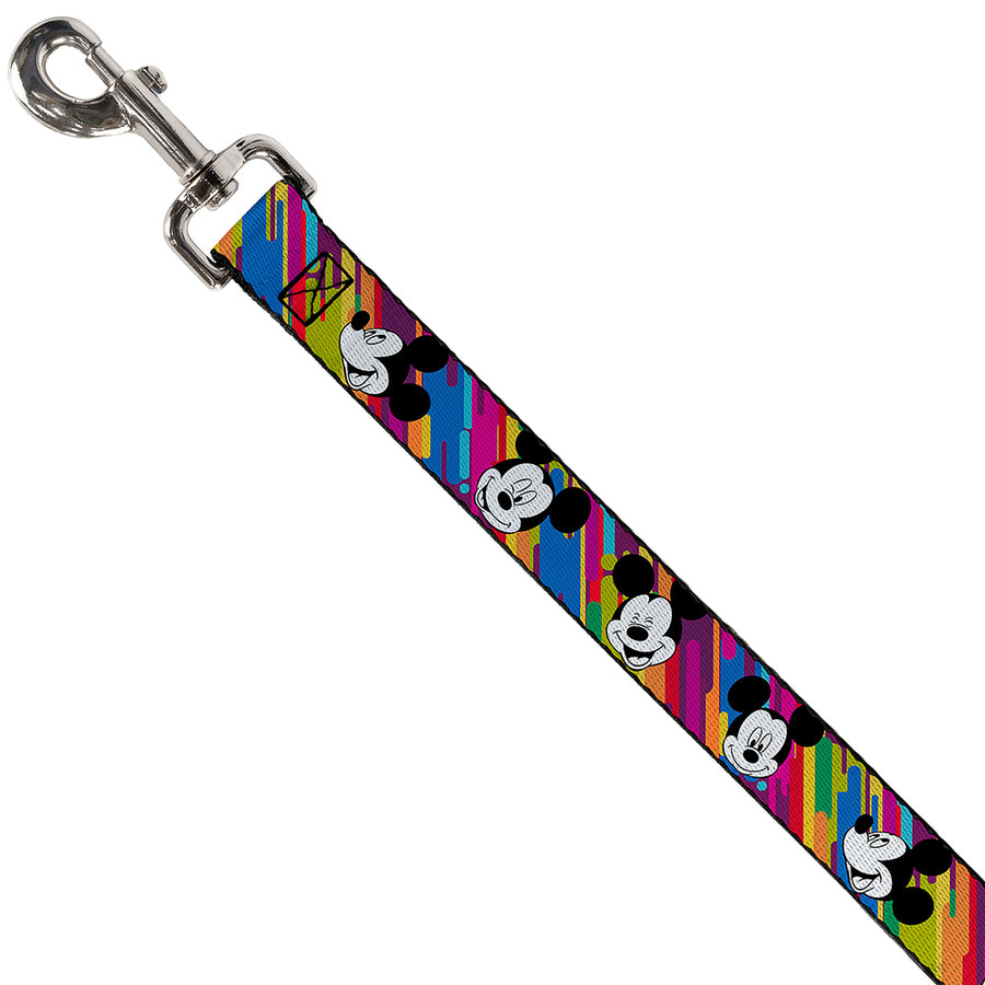 Dog Leash - Mickey Mouse Expressions Multi Color White/Black