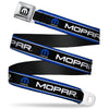 MOPAR Logo Full Color Black White Seatbelt Belt - MOPAR Text/Logo/Stripe Blue/White/Black Webbing