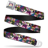 Alice Cards Full Color Pinks Seatbelt Belt - Alice in Wonderland Kaleidoscope Scenes Webbing