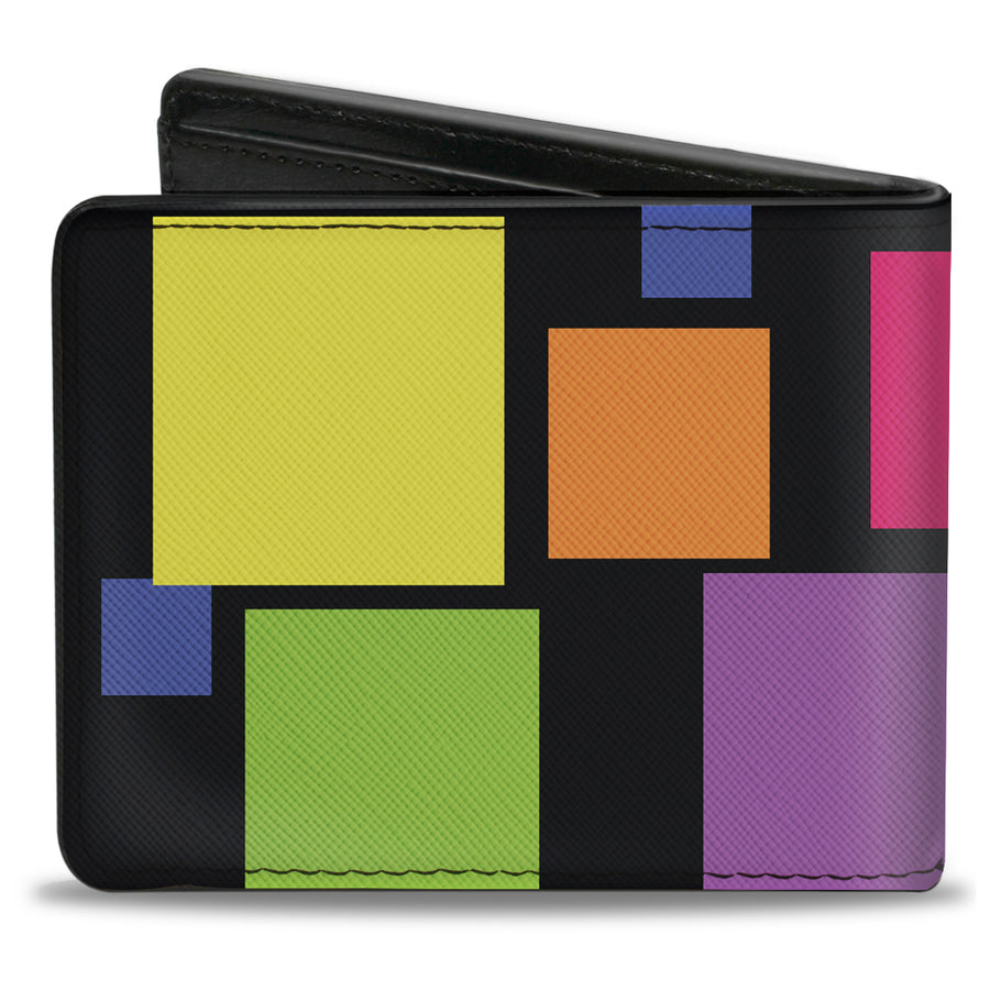 Bi-Fold Wallet - Squares Black Multi Color