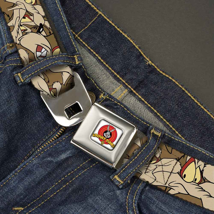Looney Tunes Logo Full Color White Seatbelt Belt - Wile E. Coyote Expressions Stacked Webbing