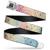 BD Wings Logo CLOSE-UP Black/Silver Seatbelt Belt - Bandana Paisley Ombre Pastel/Black Webbing