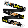 Fred Face Full Color Black Seatbelt Belt - THE FLINTSTONES Fred Bowling Poses/Bowling Pins Black Webbing