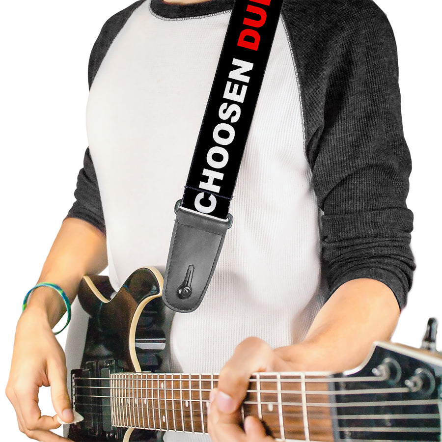 Guitar Strap - I LOVE YOU BUT I'VE CHOSEN DUBSTEP Black White Red