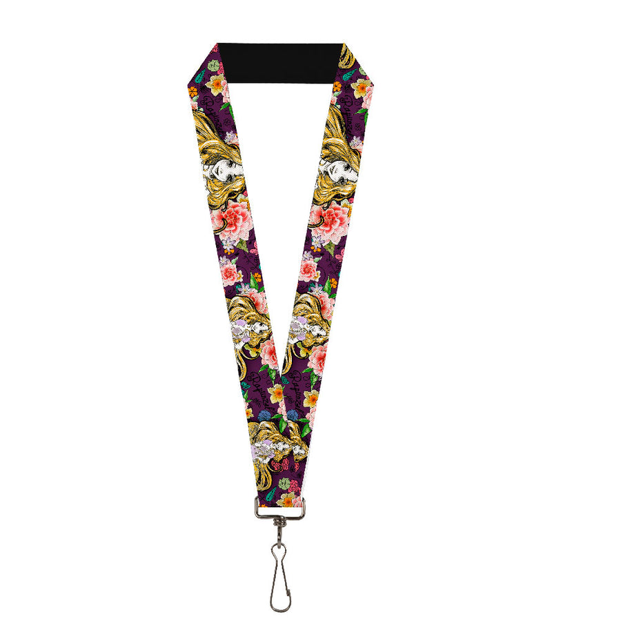 "Lanyard - 1.0"" - Rapunzel Poses Floral Collage Sketch Purple"