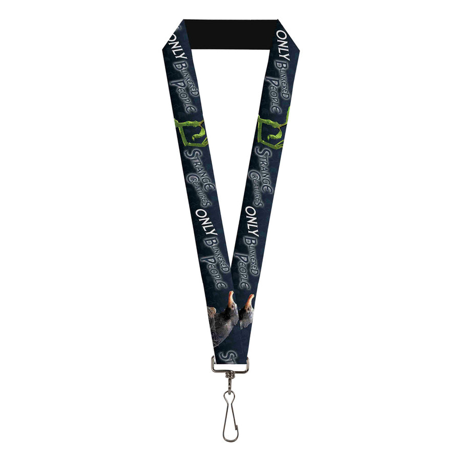 "Lanyard - 1.0"" - Pickett & Niffler Pose THERE ARE NO STRANGE CREATURES ONLY BLINKERED PEOPLE Blues White"