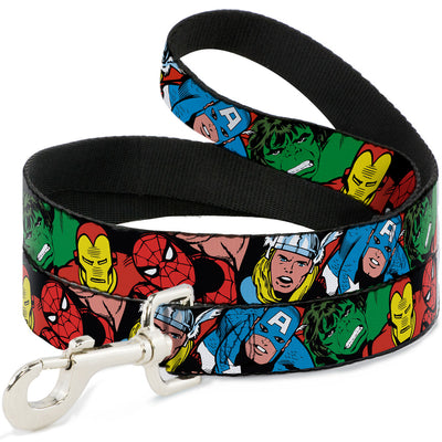 Dog Leash - 5-Marvel Characters Black