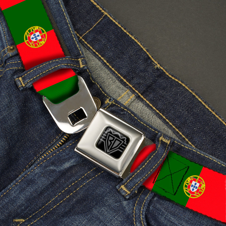 BD Wings Logo CLOSE-UP Black/Silver Seatbelt Belt - Portugal Flag Green/Red Webbing