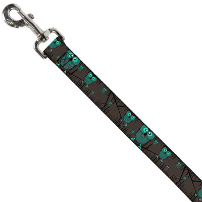 Dog Leash - Owls in Trees Turquoise