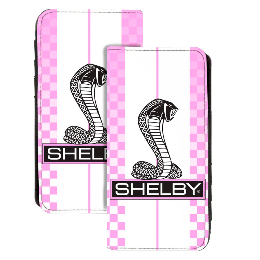 Canvas Snap Wallet - SHELBY Tiffany Box Checker Stripe White Pinks Black
