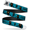 KINGDOM HEARTS Logo Full Color Black Silver Blue Fade Seatbelt Belt - KINGDOM HEARTS Shadow Poses Turquoise/Black Webbing