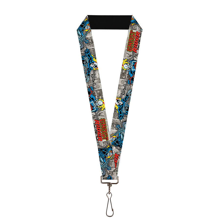 "MARVEL COMICS Lanyard - 1.0"" - Classic GHOST RIDER 3-Riding Poses Comic Blocks Grays Yellow Black Red"