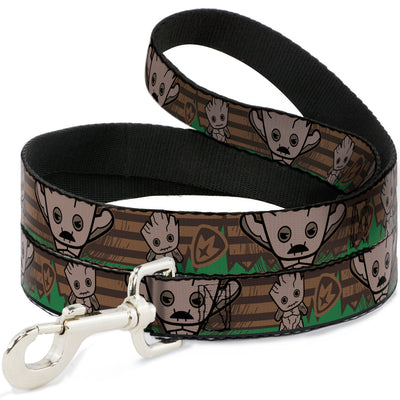 Dog Leash - Kawaii Groot 2-Poses/Guardians Badge Browns/Green