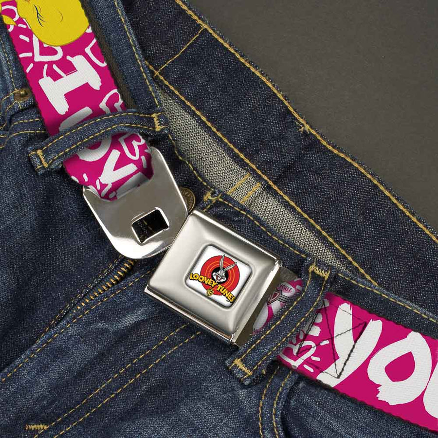 Looney Tunes Logo Full Color White Seatbelt Belt - Tweety Bird I LOVE YOU Fuchsia/White Webbing