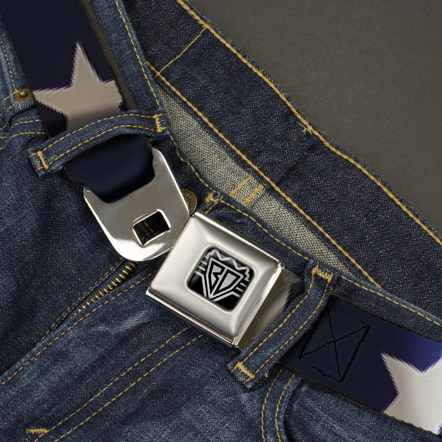 BD Wings Logo CLOSE-UP Full Color Black Silver Seatbelt Belt - American Flag Vivid Stars CLOSE-UP Blue/White Webbing