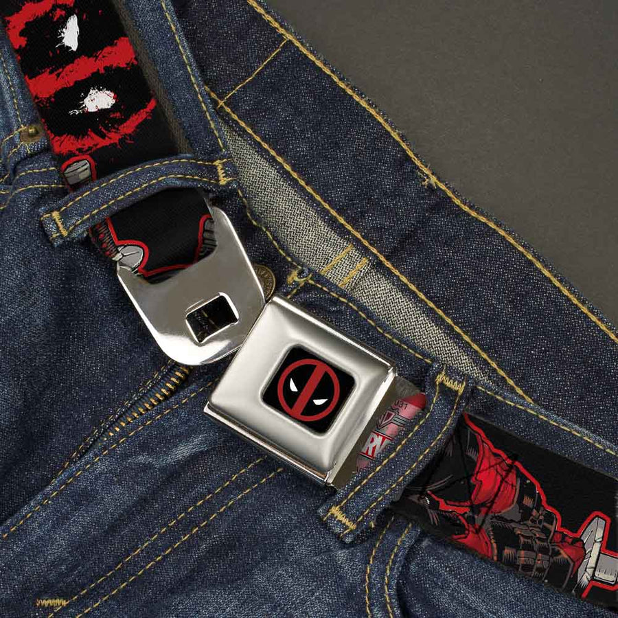 MARVEL DEADPOOL Deadpool Logo Full Color Black Red White Seatbelt Belt - Deadpool 2-Action Poses/Splatter Logo Black/Red/White Webbing
