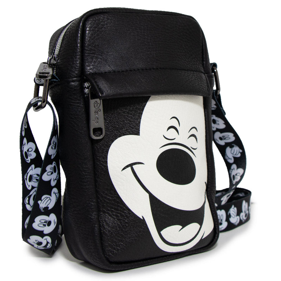 <b>Pre-Order Only </b><br>Women's Crossbody Wallet - Mickey Mouse Smiling Face Black White